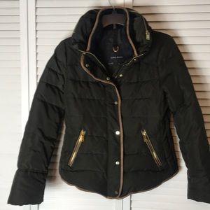 Zara Basic Olive Green Down Puffer Jacket